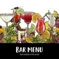 Bar menu, seamless cocktails border