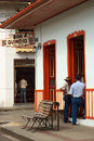 Bar quindio in salento colombia april unidentified men standing at the door of the on april the small town of Royalty Free Stock Photos