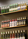 Bar shelves alcohol on shelf in a airport Royalty Free Stock Photo