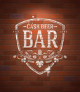 Bar sign painted on brick wall with white paint vintage vector illustration Stock Photography