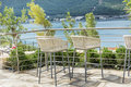 Bar Stools with sea view Royalty Free Stock Photo