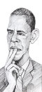 Barack obama caricature sketch drawn with pencil of the president of usa for editorial Stock Photos