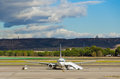 Barajas plane parked at the airport of madrid spain Royalty Free Stock Photography