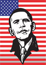 Barak Obama on flag Stock Photo