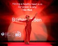 Barbara eden new york feb actress wears carmen marc valvo at go red for women the heart truth red dress collection at mercedes Royalty Free Stock Image
