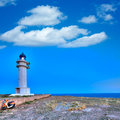 Barbaria berberia cape lighthouse formentera in balearic islands Stock Image