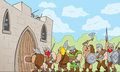 Barbarians at the gate drawing of a barbarian horde Royalty Free Stock Photo