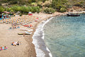 Barbarossa beach porto azzuro elba island italy august the neer port in porto azzurro on elba island italy on august Royalty Free Stock Photos