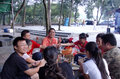 The barbecue activity in shenzhen on weekend friends meet to hold a park Stock Images