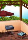 Barbecue area at the terrace Royalty Free Stock Photo