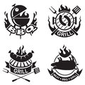 Barbecue banners set of four Stock Photography