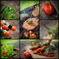 Barbecue bbq collage restaurant series food fresh marinated meat with herbs and vegetables Stock Image