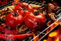 Barbecue bbq grilled tomatoes, zucchini, chili, champignons, halves of garlic. Flaming fire, ember charcoal and smoke Royalty Free Stock Photo