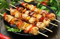Barbecue, chicken kebab with vegetables Royalty Free Stock Photo