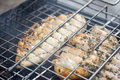 Barbecue with chicken in metal grate Royalty Free Stock Image