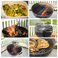Barbecue cooking collage six steps of bbq Stock Photos