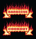 Barbecue Cookout Fire Flame Banner Straight Scroll Royalty Free Stock Photo