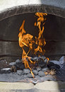 Barbecue fire burning charcoal briquettes and pine cones with blazing flames in the combustion chamber of a concreted Stock Photography