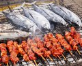Barbecue fish and meat Royalty Free Stock Photo