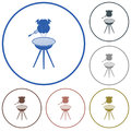 Barbecue grill with chicken icon