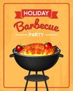 Barbecue grill elements set isolated on red background. BBQ party poster. Summer time. Meat restaurant at home. Charcoal