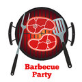 Barbecue grill, fried meat. Roasted meat, pork, spatula and fork