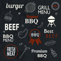 Barbecue Grill Icons and labels for any use, on a grunge