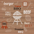 Barbecue Grill Icons and labels for any use, on a wooden