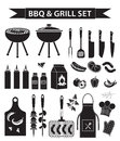 Barbecue and grill icons set, black silhouette, outline style. BBQ collection of objects, elements of design, logo Royalty Free Stock Photo