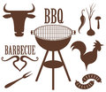 Barbecue grill isolated objects on white background vector illustration eps Stock Image