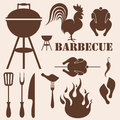 Barbecue grill set isolated objects vector illustration eps Stock Photography