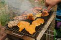 Barbecue grill steaks there are grilled and the meat was reversed Royalty Free Stock Photography