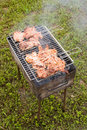 Barbecue with grilling chicken Stock Photo