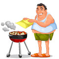 Barbecue happy man doing a Stock Image