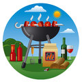 Barbecue icon illustration og a food products and objects for picnic Royalty Free Stock Image
