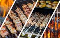 Barbecue Kebabs On The Hot Grill Close-up. Flames of Fire In photo collage Royalty Free Stock Photo