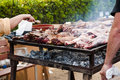 Barbecue meat on grill cooking meat on the Stock Photo