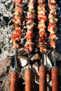 Barbecue with meat skewers Royalty Free Stock Image