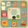 Barbecue menu bbq set vintage design grill and retro illustration Stock Images