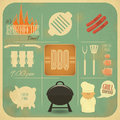 Barbecue menu bbq vintage design grill and retro illustration Stock Photos