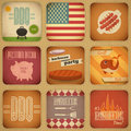 Barbecue menu retro set vintage design grill and bbq square illustration Royalty Free Stock Photo