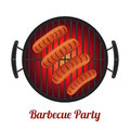 Barbecue pan with sausages, bbq party banner. Cartoon flat style