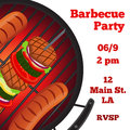 Barbecue party flyer, invitation banner. Fried meat, sausages. Flat style.