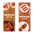 Barbecue party flyers, invitation banner. Fried meat, sausages.