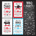 Barbecue party invitation. BBQ template menu design. Food flyer. Royalty Free Stock Photo