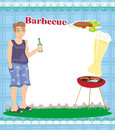 Barbecue party invitation with place for your text illustration Stock Photo