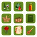Barbecue party products BBQ grilling kitchen outdoor family time cuisine lunch vector illustration Royalty Free Stock Photo