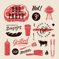 Barbecue Party Vector Retro Labels or Symbols. Meat and Beer Icon Typography Pattern. Steak, Sausage, Grill Signs.