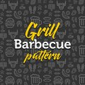 Barbecue pattern illustration with vector outline simple flat icons on texture background