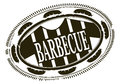Barbecue rubber stamp in one color on a white background Royalty Free Stock Photo